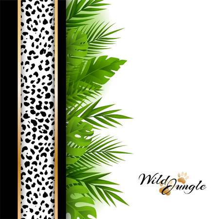 lush foliage: Wild tropical jungle background with jaguar pattern and green palm leaves vertical border. Vector card with copy space in material design style.
