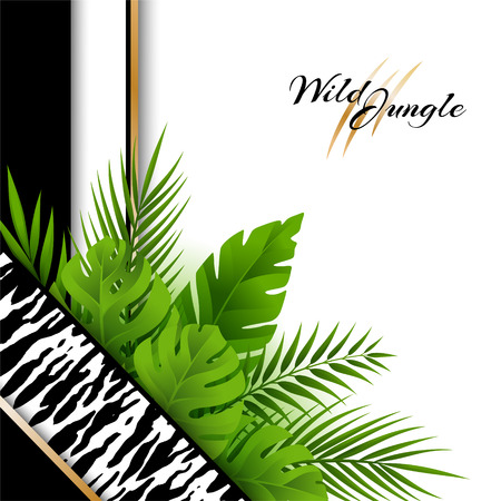Wild tropical jungle background with tiger pattern and green palm leaves decoration . Vector card in material design style. Illustration