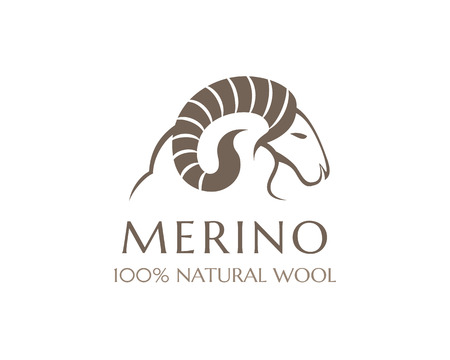 Merino wool icon. Vector sheep logo template. 100 percent natural product isolated symbol Vettoriali