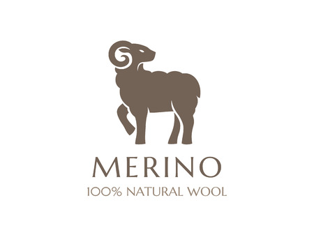 Merino wool icon. Vector sheep logo template. 100 percent natural product isolated symbol Çizim