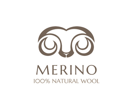 mohair: Merino wool icon. Vector sheep logo template. 100 percent natural product isolated symbol Illustration