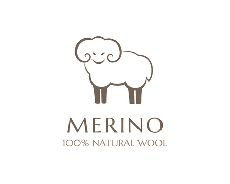 Merino wool icon. Vector sheep logo template. 100 percent natural product isolated symbol 일러스트
