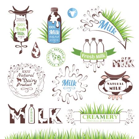 Lait et produits laitiers badges et étiquettes