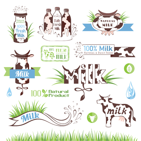 creamery: Milk and creamery labels, emblems and design elements