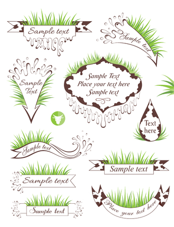 spotty: Milk banners. Set of spotty ribbons and frames with grass and copy space