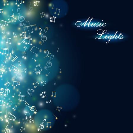 Fond de musique Bannière abstraite avec effet de lumière colorée et notes qui tombent. Illustration vectorielle