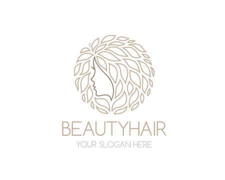 cara de mujer con hojas de pelo. Concepto de diseño abstracto para el salón de belleza, moda, cosmética o spa. la insignia del vector plantilla de diseño.