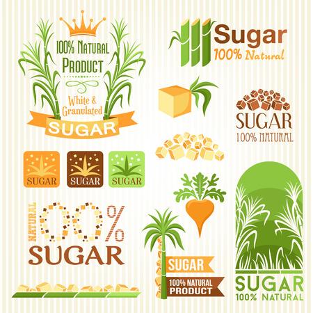 Étiquettes de sucre, symboles, emblèmes et icônes pour le design