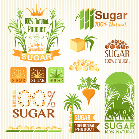 Sugar labels, symbols, emblems and icons for design