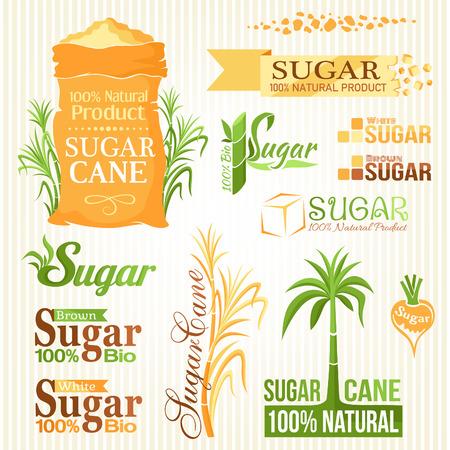 éléments de sucre fixés. Les étiquettes et les icônes pour la conception