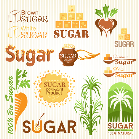 Sugar symbols, icons and other design elements Vettoriali
