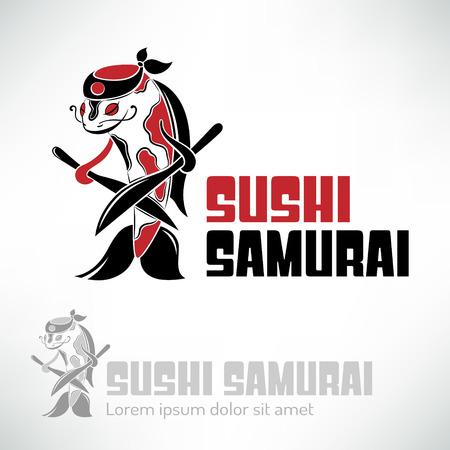 Sushi chef logo design. Koi carp samurai with knifes. Concept icon for sushi bar or restaurant.