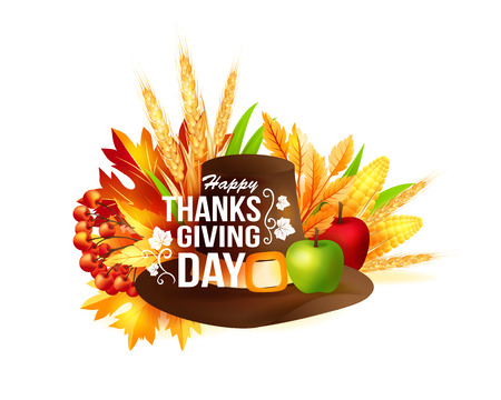 felicitation: Thanksgiving banner with fall leaves and greeting text. Autumn vector design element.