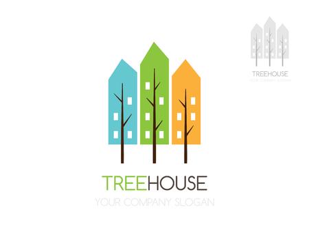 construction firm: City tree logo. Green town logo. Eco house vector logo template.