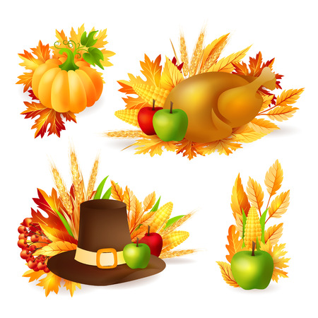 Thanksgiving design elements. Autumn holiday vector decorations. Illustration