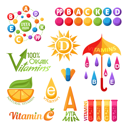 Vitamins symbols, icons and labels for design Vettoriali