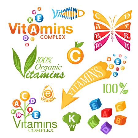 vitamin e: Vitamins symbols, icons and other design elements