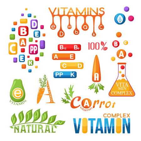 complex: Vitamins emblems set. Labels and icons for design