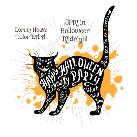 Halloween invitation banner with black shape of cat and calligraphic holiday wishes. Halloween retro hand lettering poster.