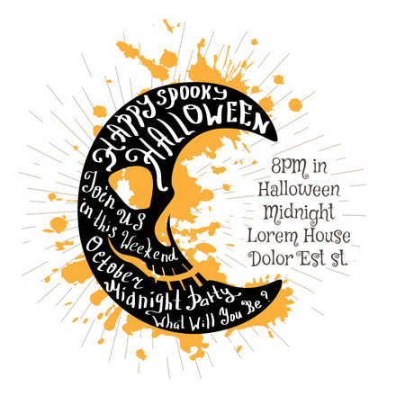 Halloween invitation banner with black shape of moon and calligraphic holiday wishes. Halloween retro hand lettering poster.