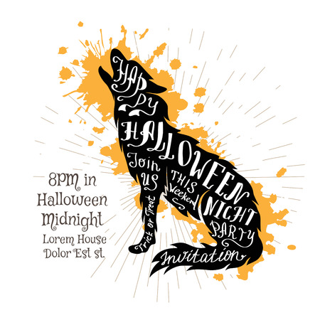 Halloween invitation banner with black shape of wolf  and calligraphic holiday wishes. Halloween retro hand lettering poster. Illustration