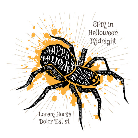 Halloween invitation banner with black shape of spider and calligraphic holiday wishes. Halloween retro hand lettering poster.