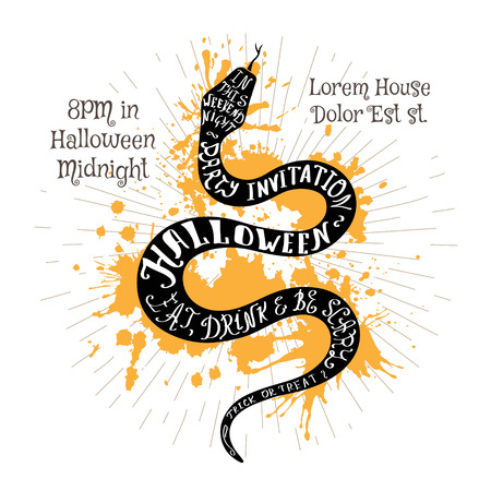 Halloween invitation banner with black shape of snake and calligraphic holiday wishes. Halloween retro hand lettering poster.