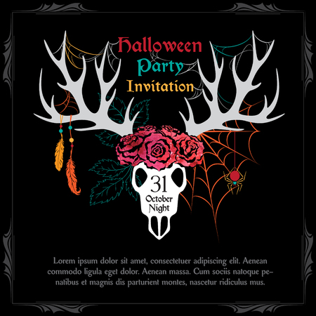 scull: Halloween Party Design template with deer scull and sample text. Halloween invitation card with fairytale scene.