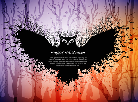 copy spase: Halloween card with fairytale scene, flying magic owl above dark forest. Halloween background with frame from owl and copy spase for your text.