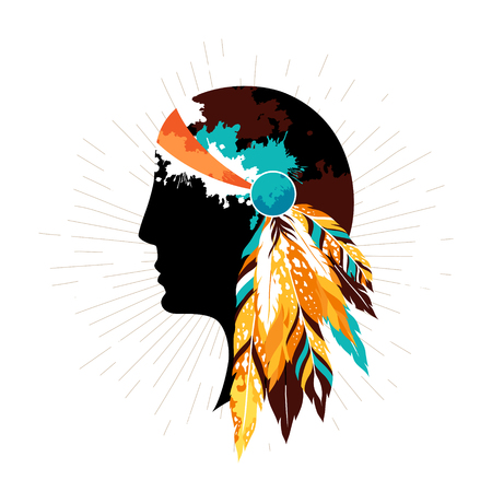 Native american women in tribal headdress. Authentic  poster with silhouette of  indigenous women.