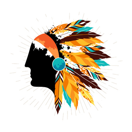 indigenous: Native american men in tribal headdress. Authentic  poster with silhouette of indigenous warrior.