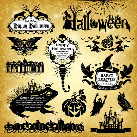 Halloween design elements. Collection of halloween labels, banners, signs and other design elements. Illustration