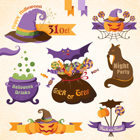 Set of halloween decorative elements, ribbons and banners. Color version Illustration
