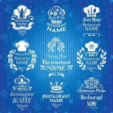 christmas menu: Christmas menu signs and emblems collection. Vector illustration