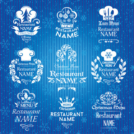 Christmas menu signs and emblems collection. Vector illustration