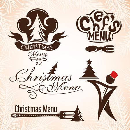 christmas menu: Set of christmas menu emblems. Vector illustration