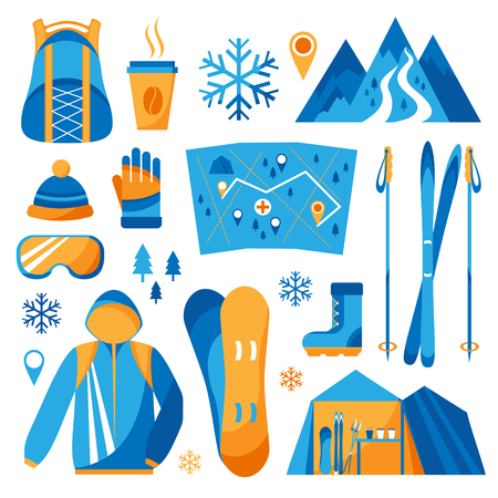 winter sport: Set vector isolated of winter sport icons.