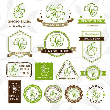 Ginkgo biloba. Etiketten, Briefmarken und Abzeichen Sammlung. Vector dekorativ isoliert Elemente für Verpackungsdesign.