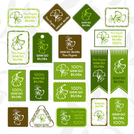 Ginkgo biloba. Rectangle stamps and stickers. Vector decorative isolated elements for package design.