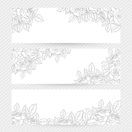 flower banner: Vintage romantic invitation banners with delicate roses decoration.  Vector floral background for wedding, birthday, valentines day or any anniversary or celebration.