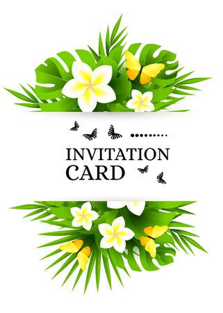 mariposas amarillas: fondo hawaiano tropical con hojas de árboles de la selva de palmeras, flores exóticas y mariposas amarillas. banderas de invitación de vectores verticales con plumeria decoraciones florales y espacio de la copia