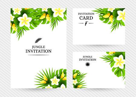 mariposas amarillas: Verano de fondo hawaiano tropical con hojas de palmera de la selva, flores ex�ticas y mariposas amarillas. Vectores