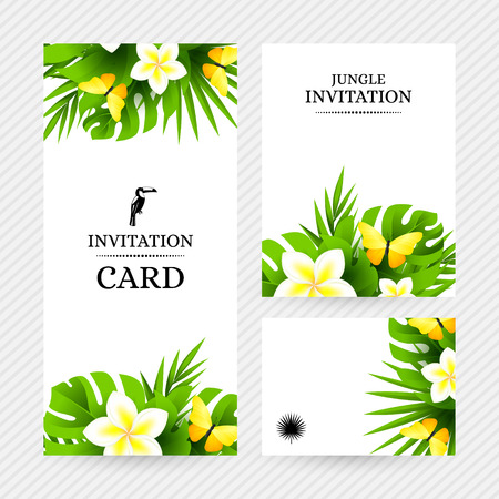 mariposas amarillas: Verano de fondo hawaiano tropical con hojas de palmera de la selva, flores exóticas y mariposas amarillas. Vectores