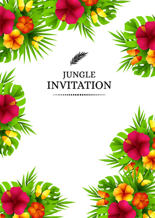 Tropical hawaiian background with jungle palm tree leaves, exotic flowers and butterflies. Vertical vector  invitation banners with hibiscus floral decorations and copy space