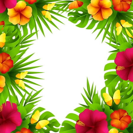 Summer tropical hawaiian background with jungle palm tree leaves, exotic hibiscus flowers and butterflies.