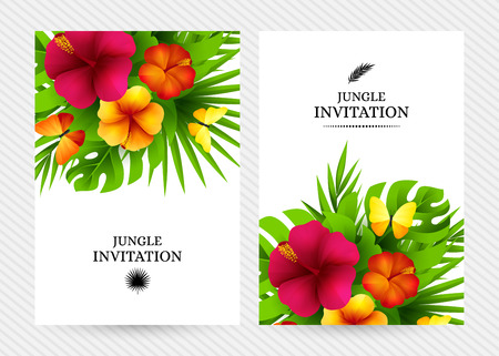 Tropical hawaiian background with jungle palm tree leaves, exotic flowers and butterflies. Vertical vector  invitation banners with floral decorations and copy space