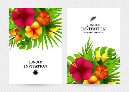 Tropische hawaiische Hintergrund mit Dschungel Palme Blätter, exotische Blumen und Schmetterlinge. Vertikale Vektor Einladung Banner mit Blumenschmuck und Kopie Raum