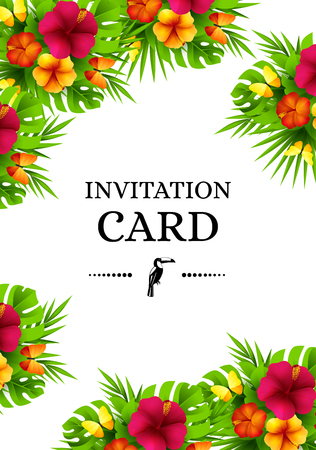 Tropical hawaiian background with jungle palm tree leaves, exotic flowers and butterflies. Vertical vector  invitation banners with hibiscus floral decorations and copy space Фото со стока - 62888123