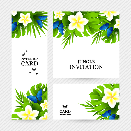 exotic butterflies: Summer tropical hawaiian background with jungle palm tree leaves, exotic plumeria flowers and blue butterflies. Illustration