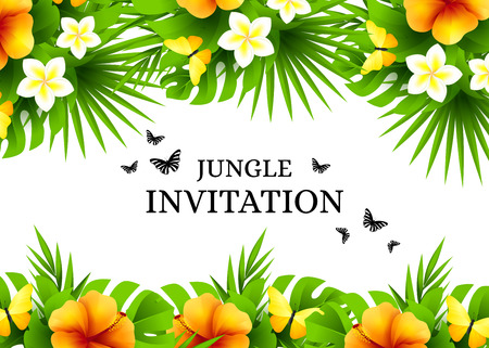 Summer tropical hawaiian background with jungle palm tree leaves, exotic flowers and yellow butterflies. Horizontal vector  invitation banners with hibiscus floral decorations and copy space